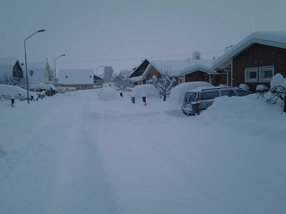60 cm snö i Källby, 10 km från Lidköping.