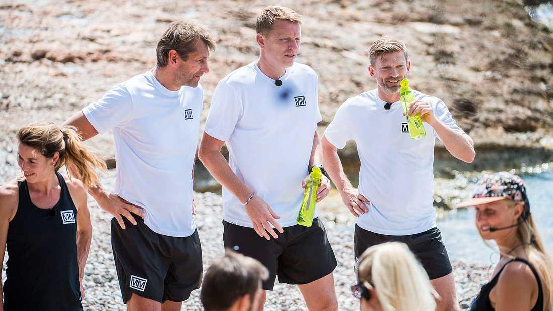 Boll-laget (vita tröjor) består av Magnus Wislander, Kennet Andersson och Jesper Blomqvist.