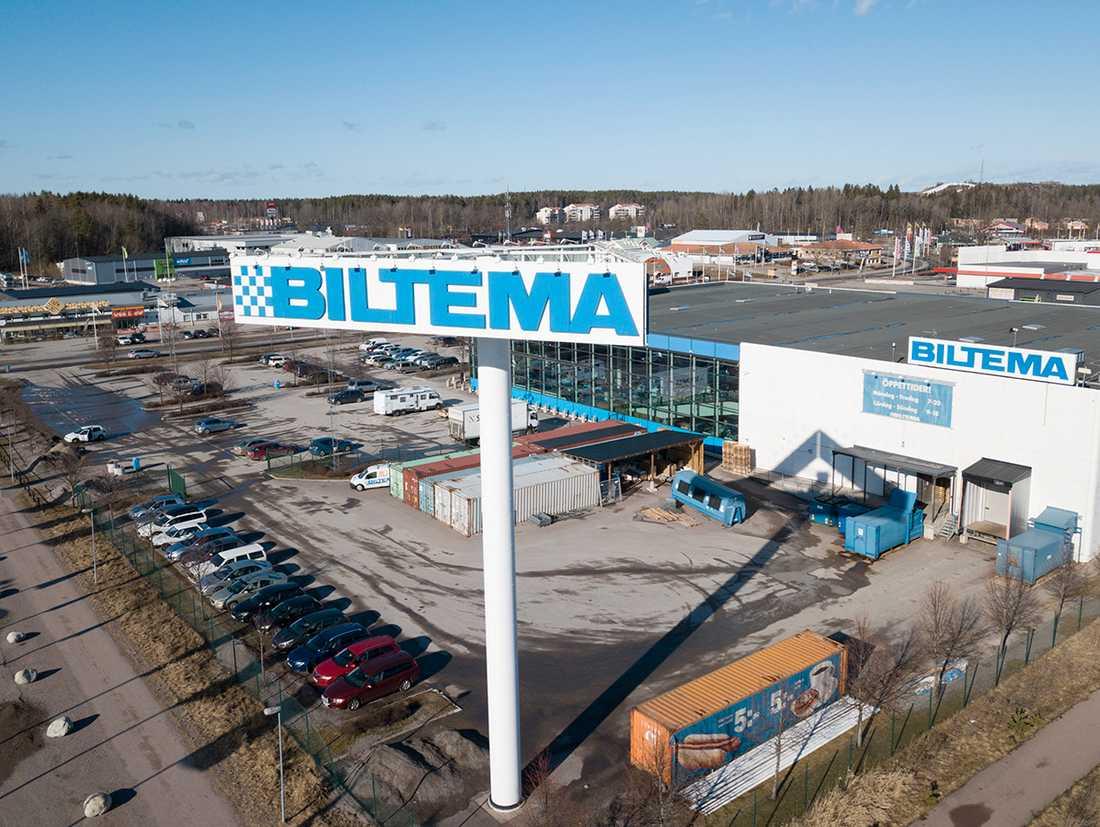 Biltemaskylt i Västerås. Arkivbild.