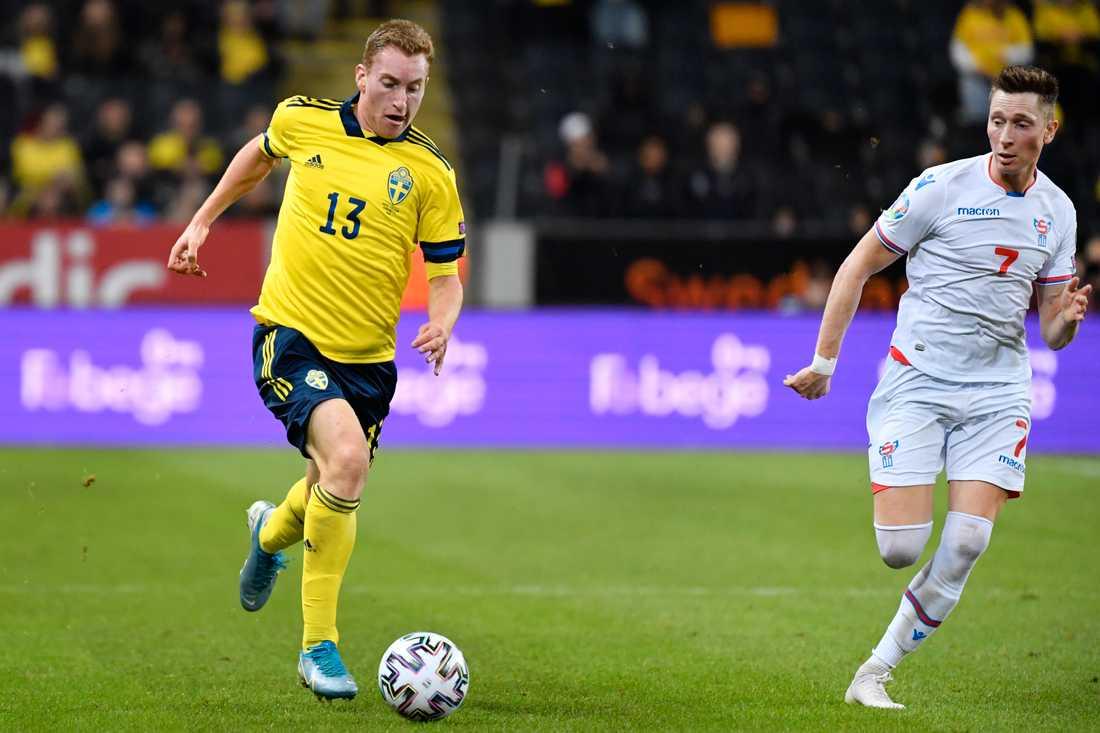 Dejan Kulusevski gjorde A-landslagsdebut mot Färöarna (3–0) på Friends arena i Solna den 18 november. Arkivbild.