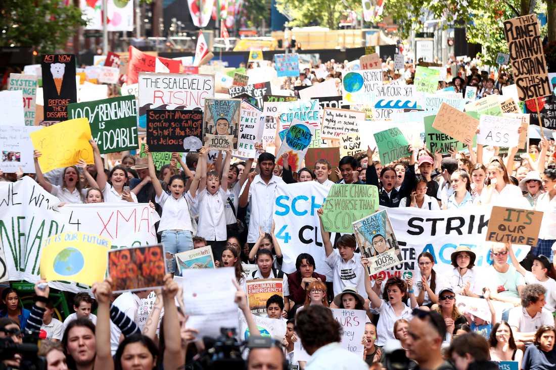 Svenska Greta Thunberg har inspirerat studenter i Australien att strejka från skolan för att uppmärksamma klimatförändringarna. Sydney, Australien.
