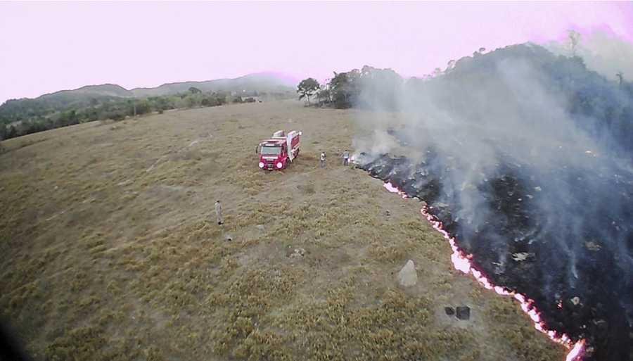 Drönarfoto från bränder i den brasilianska delstaten Mato Grosso.