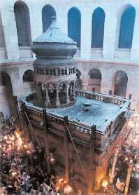 Jesus grav? Den tomma graven där Jesus tros ha begravts, i den heliga gravkammarens kyrka i Jerusalems gamla stad.