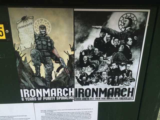 """Reklamaffisch för """"Iron March"""" uppsatt på elskåp på Kungsholmen i Stockholm 2017."""
