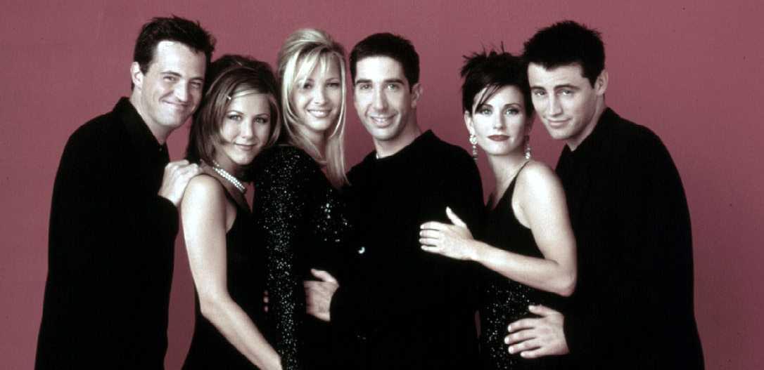 """Gänget från """"Vänner"""", 1997. Courteney Cox andra till höger."""