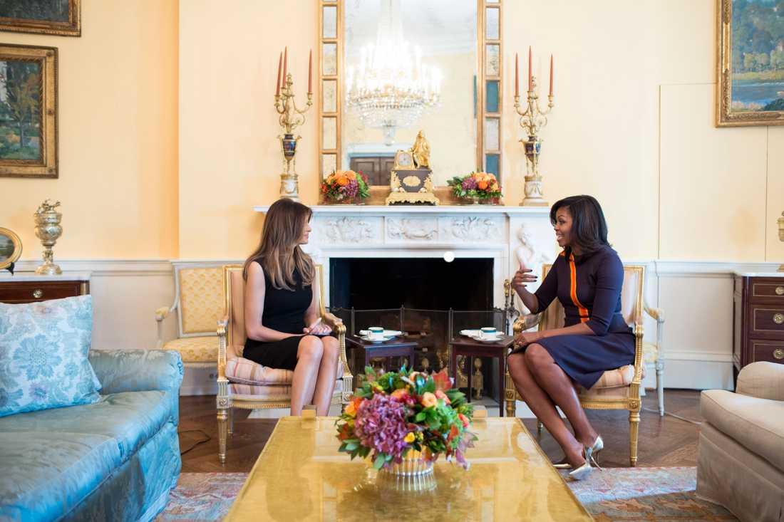 Melania Trump och Michelle Obama hade ett privat möte i Vita Huset.