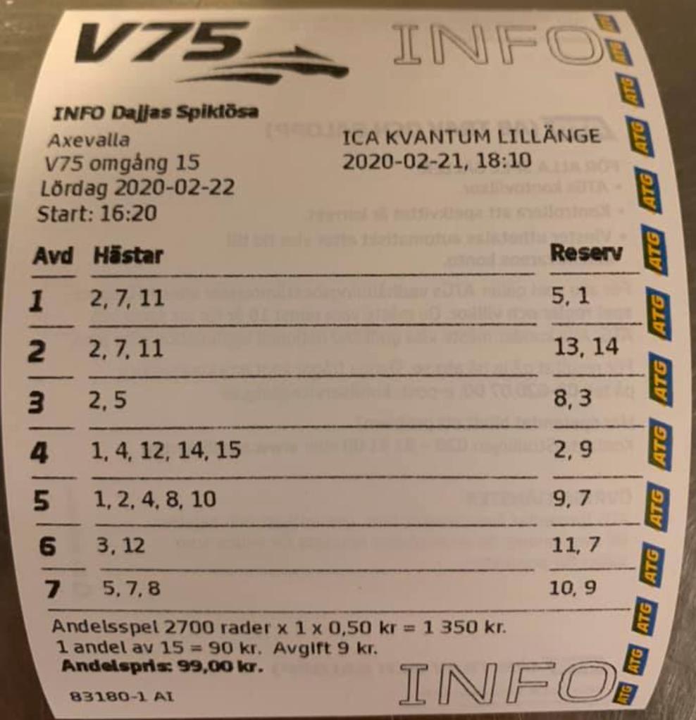 "Daniel ""Dajja"" Berglins spiklösa system vann 1,7 miljoner på V75"