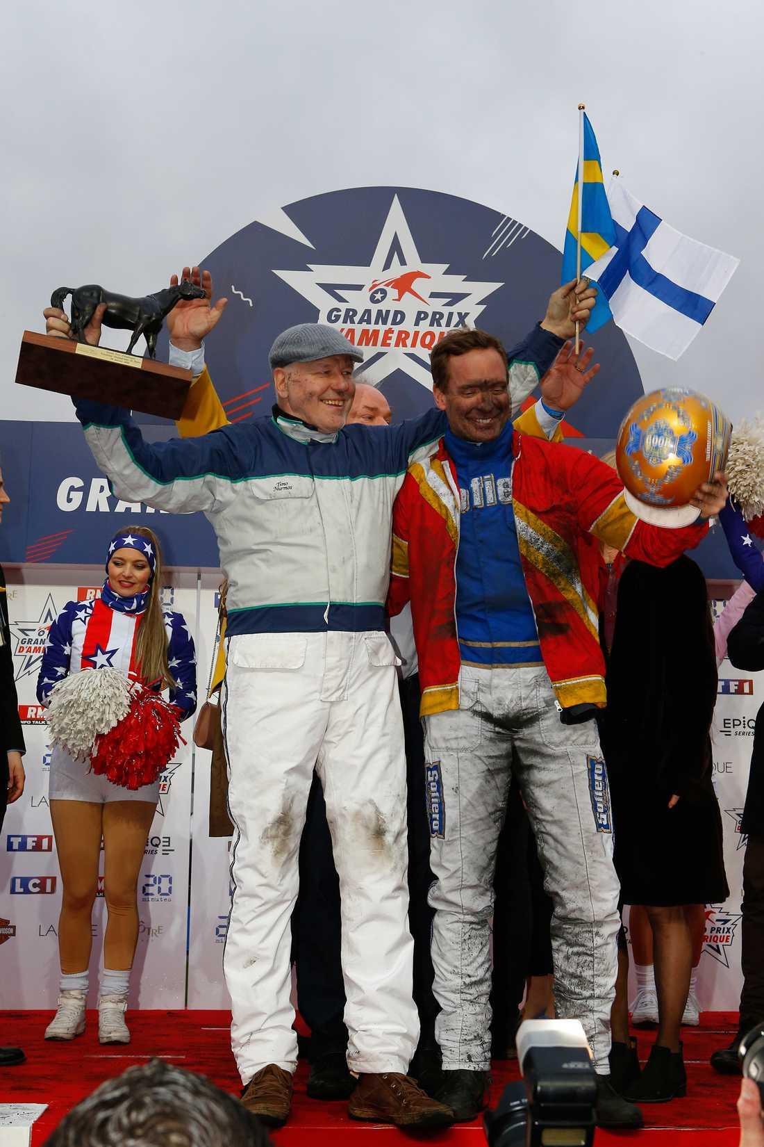 Timo Nurmos och Björn Goop efter segern med Readly Express 2018.