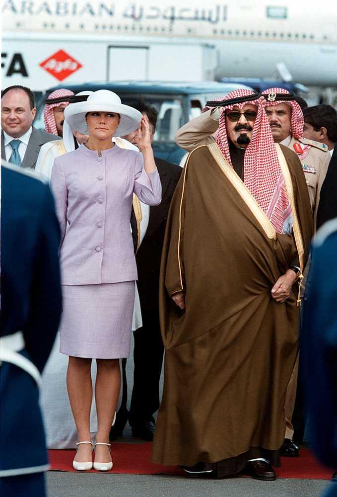 Kung Abdullah när han som kronprins var på statsbesök i Sverige.