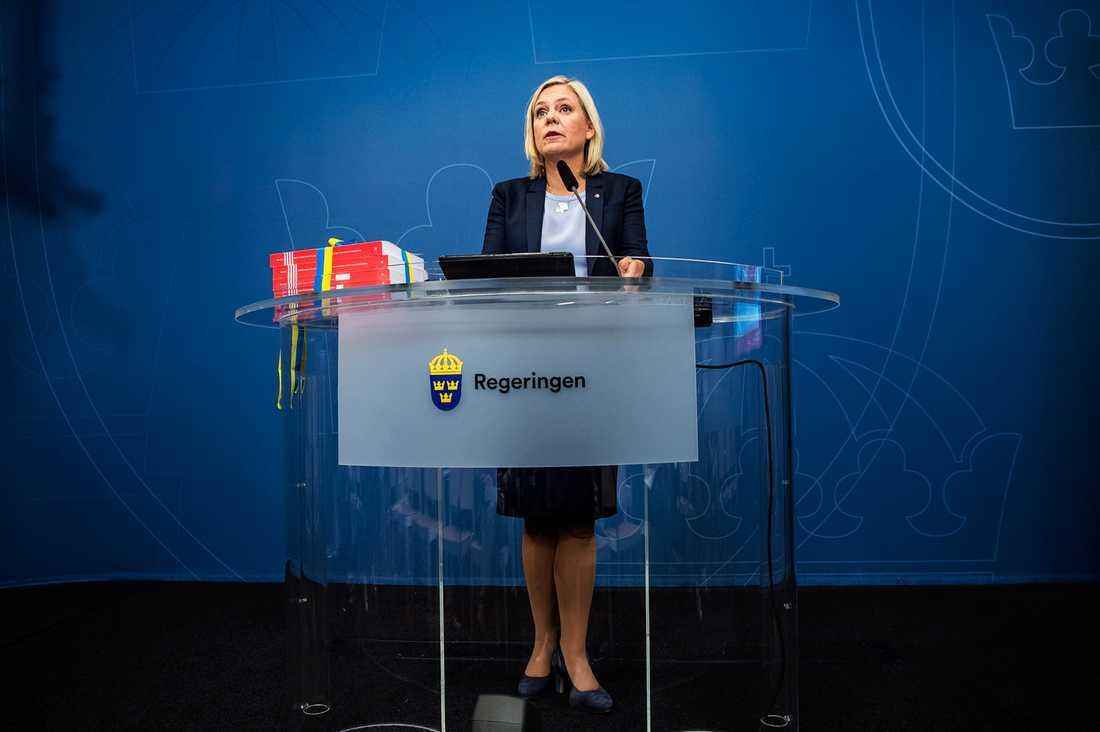 Finansminister Magdalena Andersson när hon presenterade höstbudgeten.