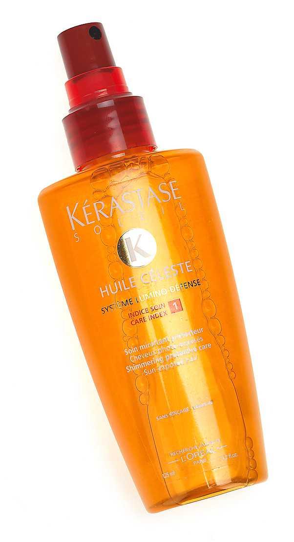 """""""Huile céleste"""" från Kérastase för 269 kronor är en ultralätt olja som skyddar håret i solen samtidigt som skimmerpartiklarna får det att se friskt och blankt ut."""