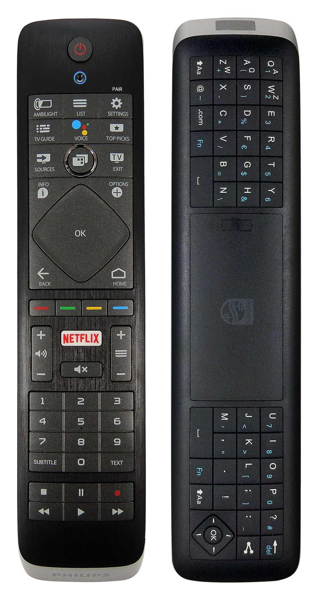 PHILIPS 65PUS7363 får ett plus i kanten för sitt tangentbord på fjärrkontrollens baksida.