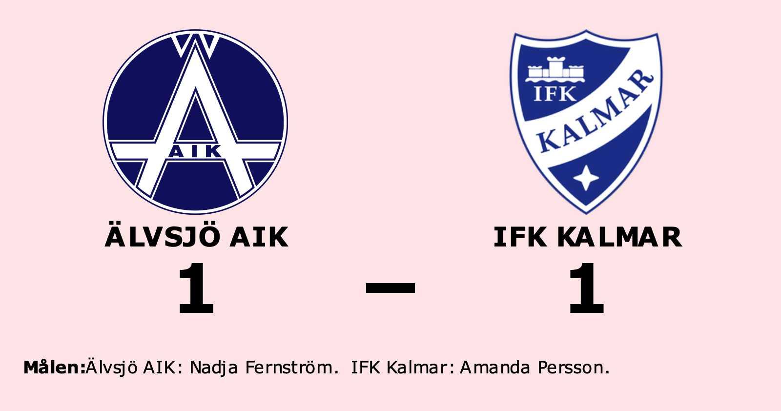 Oavgjort för Älvsjö AIK hemma mot IFK Kalmar