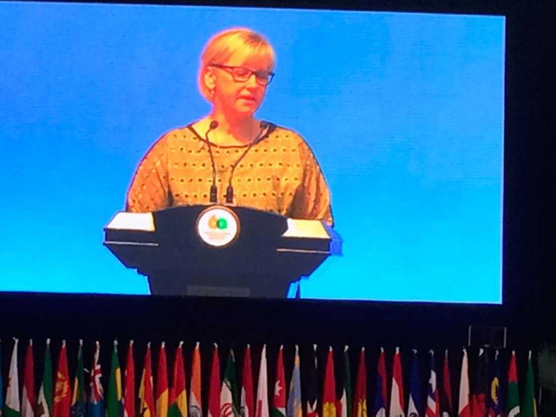 Under sitt tal pratade Margot Wallström bland annat om kvinnors rättigheter.