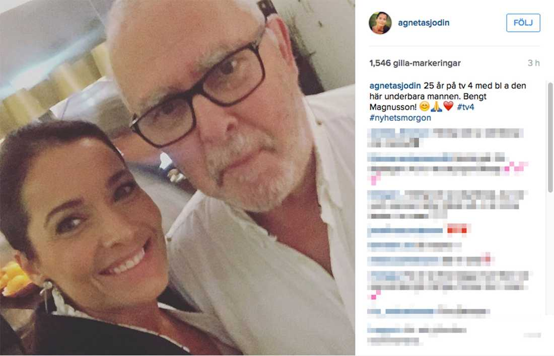 Agneta Sjödin hyllade sin kollega på Instagram.
