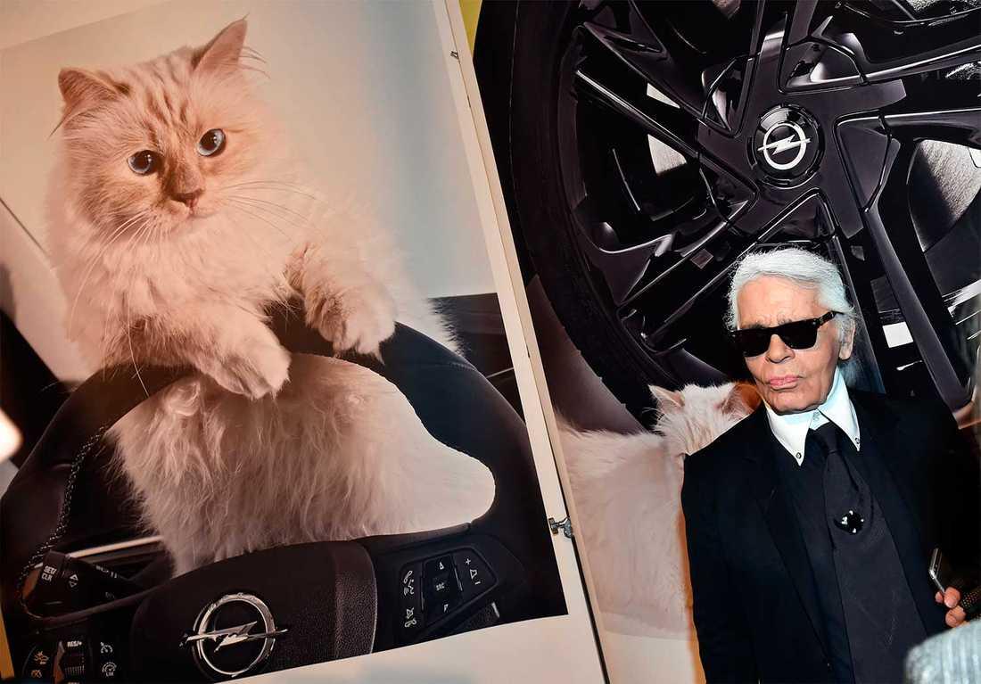 Karl Lagerfeld poserar vid en bild på sin älskade Choupette.