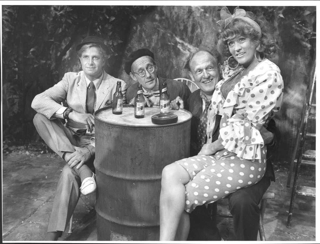 Ulf Brunnberg, Gösta Ekman, Björn Gustafson och Birgitta Andersson i filmen Jönssonligan på Mallorca år 1989.