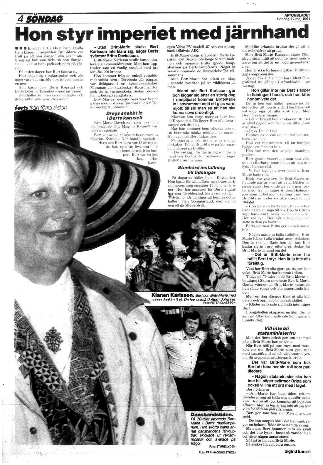 """Ur Aftonbladet 12 maj 1991. """"Utan Britt-Marie skulle Bert Karlsson inte klara sig"""", sa Bert Karlssons svärmor och Britt-Maries mamma Britta Davidsson om sin dotter då."""