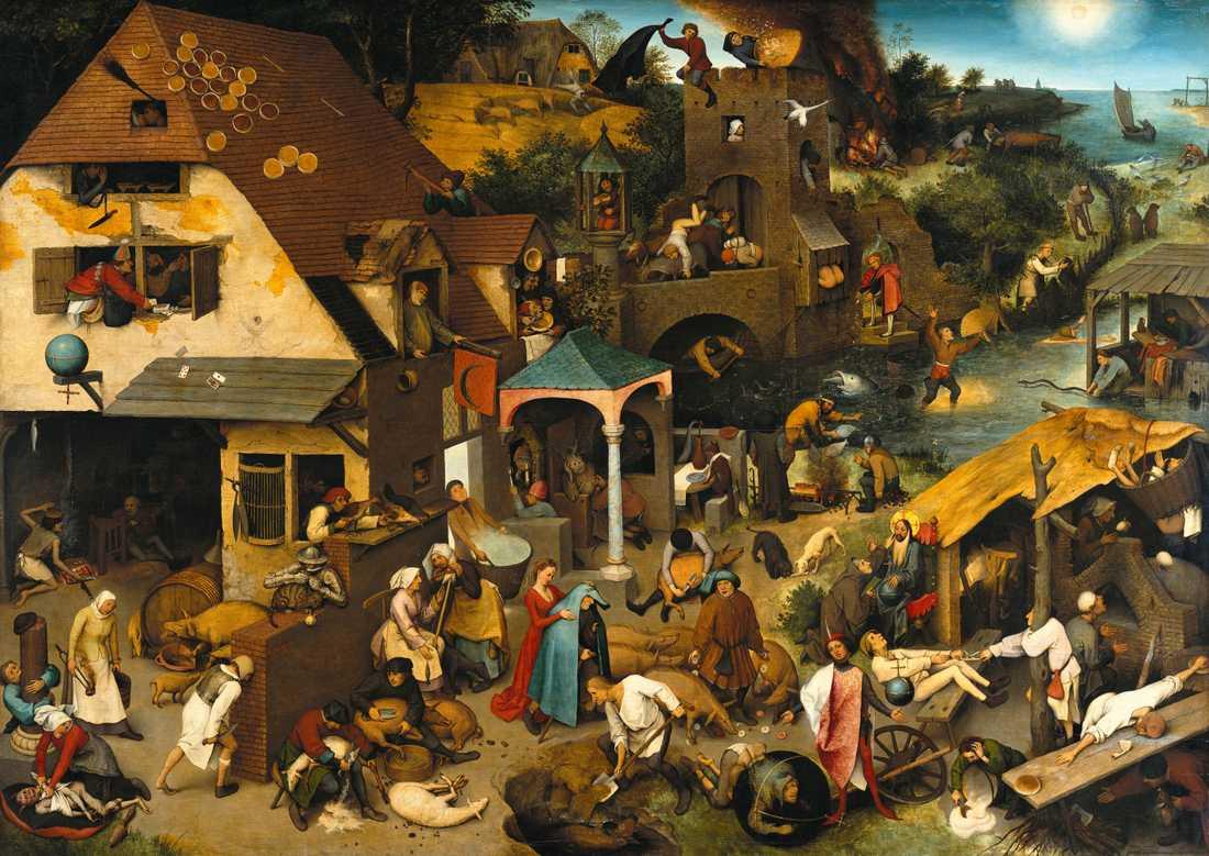 """Livet i en liten bondby. Konstverket heter """"De nederländska ordspråken"""", 1559"""