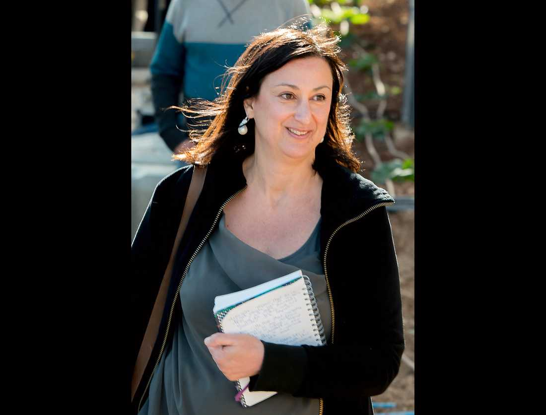 Den undersökande journalisten Daphne Caruana Galizia mördades i en bilbombsattack den 16 oktober 2017. Arkivbild.