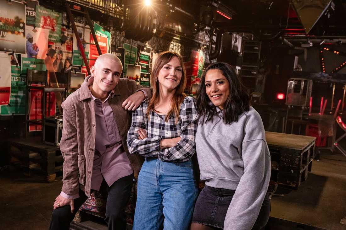 Musikhjälpen 2020 leds av Brita Zackari, Farah Abadi och Felix Sandman. Pressbild.