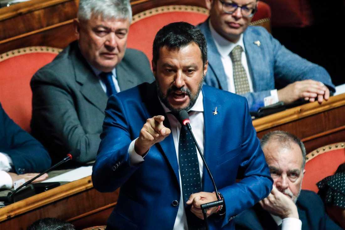 Italiens inrikesminister Matteo Salvini talade i senaten på tisdagen. Hans förslag om en snabb förtroendeomröstning föll.