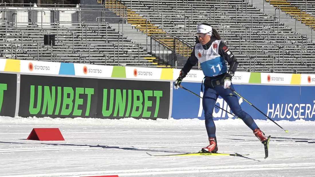 Charlotte Kalla tränade på plats i Seefeld under måndagen.