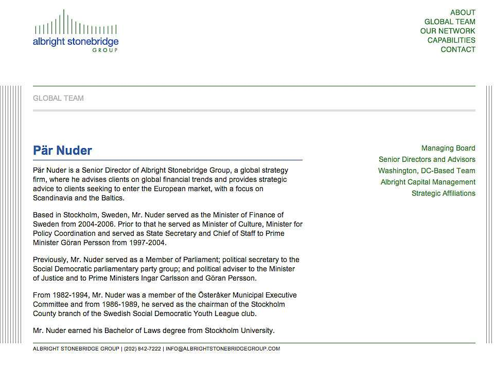 Pär Nuders beskrivning på Albright Stonebridge Group.