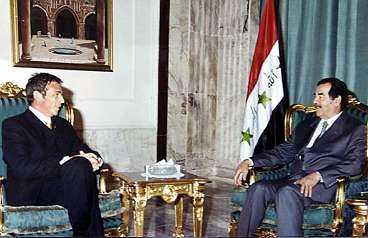 hos Saddam Jörg Haider, som i går beslutade att lämna den österrikiska rikspolitiken, och Saddam Hussein.