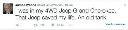 James Woods var oerhört tacksam mot många personer efter olyckan, bland dem företaget Jeep som byggde hans bil.