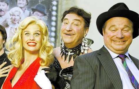 """Med Christine Meltzer och Magnus Härenstam i """"The Producers""""."""