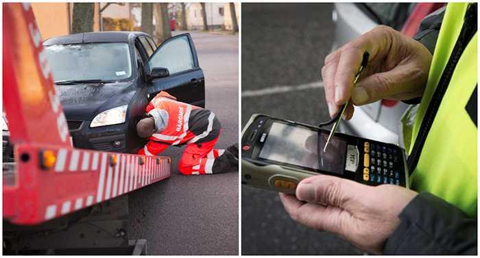 Parkeringsvakten noterar ägarens skuld och beslutar att bogsera bort den felparkerade bilen.