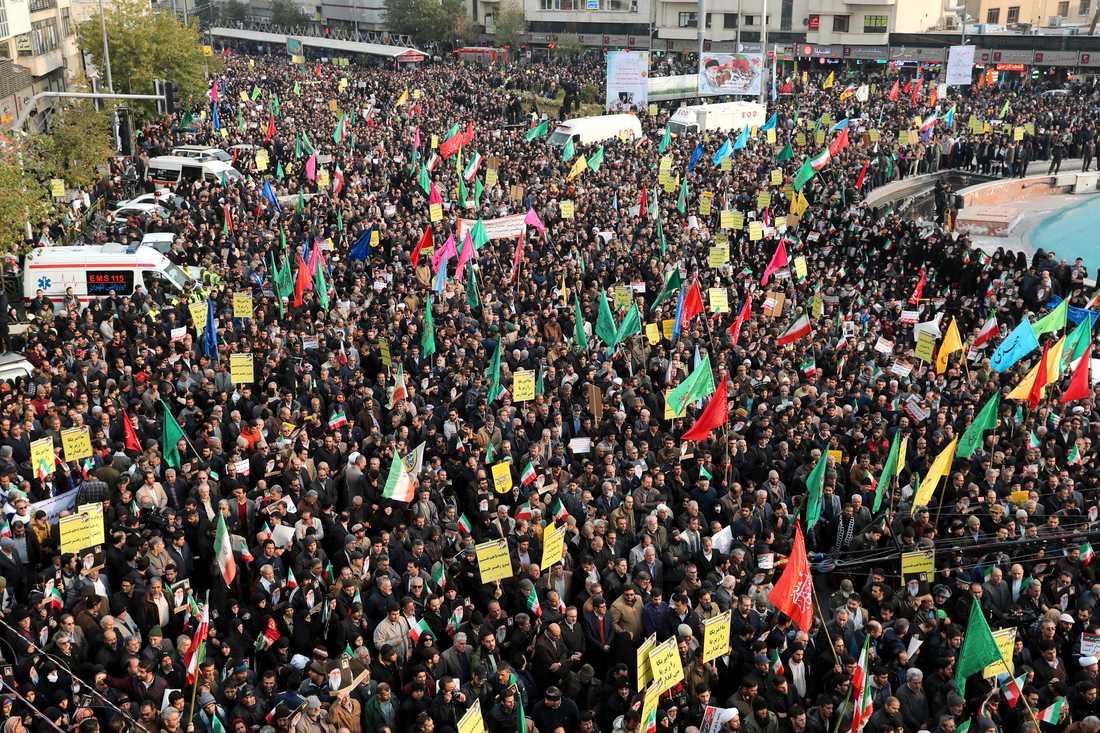 Demonstrationer i Teheran i början av veckan. Arkivbild.