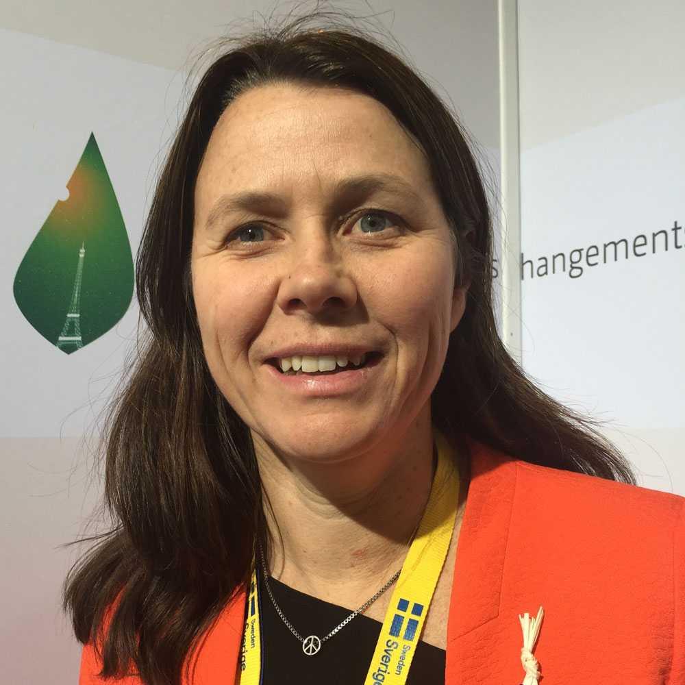 Åsa Romson strax efter beskedet vid klimatmötet i Paris.