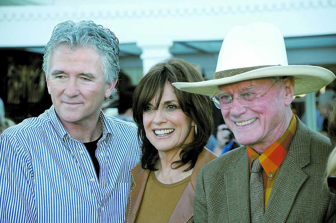 tillbaka på rancheN Patrick Duffy, Linda Gray och Larry Hagman på Southfork ranch.