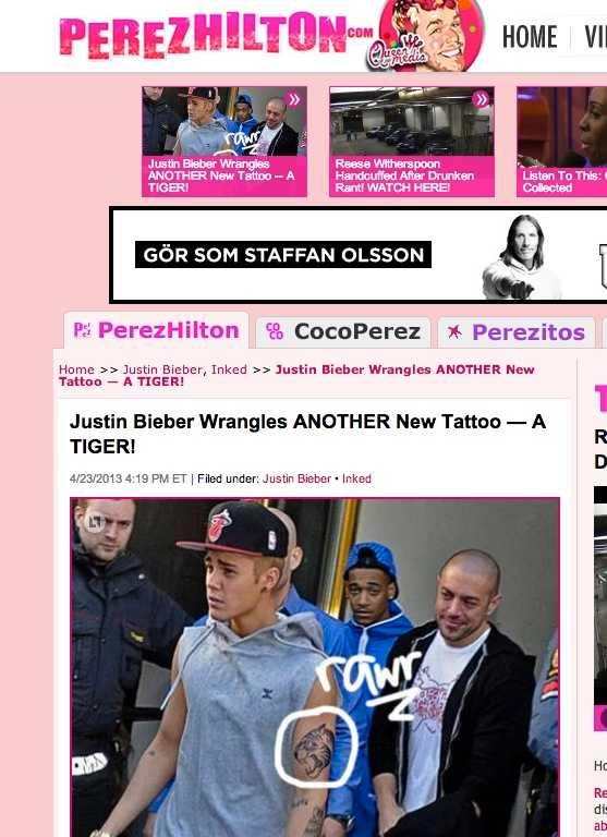 Nyheten togs upp av utländska sajter under tisdagskvällen, här Perezhilton.com.
