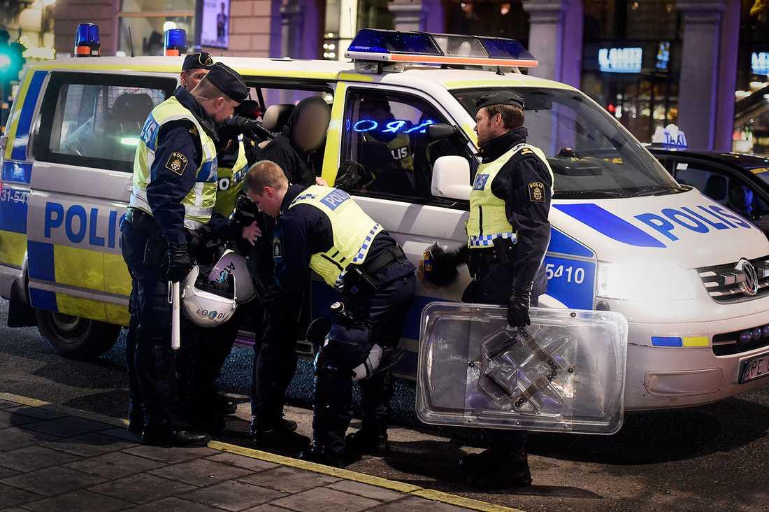 Polispådrag i centrala Stockholm.
