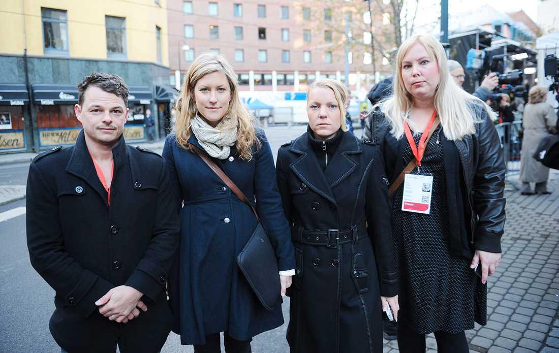 Aftonbladet på plats i Oslo Peter Wixtröm, Josefin Sköld, Carina Bergfeldt och Linda Hjertén.