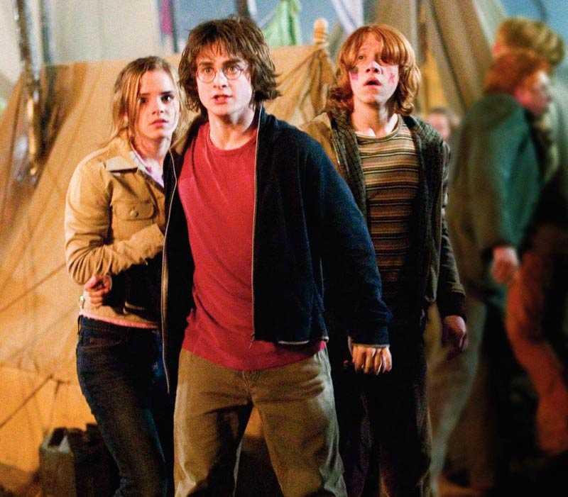 "Kidsen Emma Watson, Daniel Radcliffe och Rupert Grint i ""Harry Potter and the Goblet of fire""."