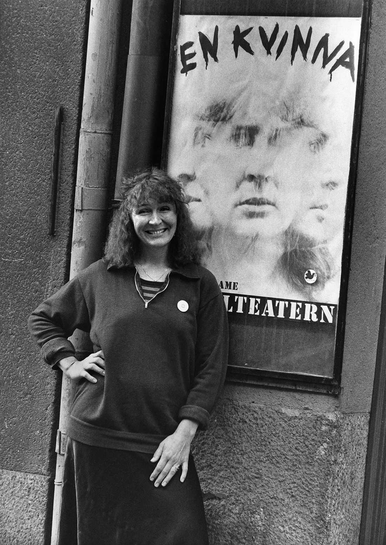 """Kim Anderzon i samband med teaterpjäsen """"En kvinna"""" på Pistolteatern i Stockholm 7:e september 1980."""