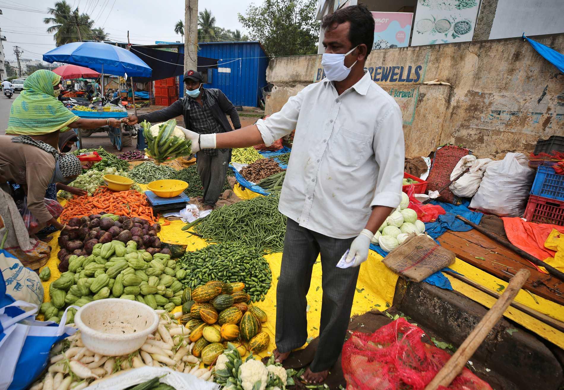 En grönsakshandlare i Bangalore i Indien. Arkivbild