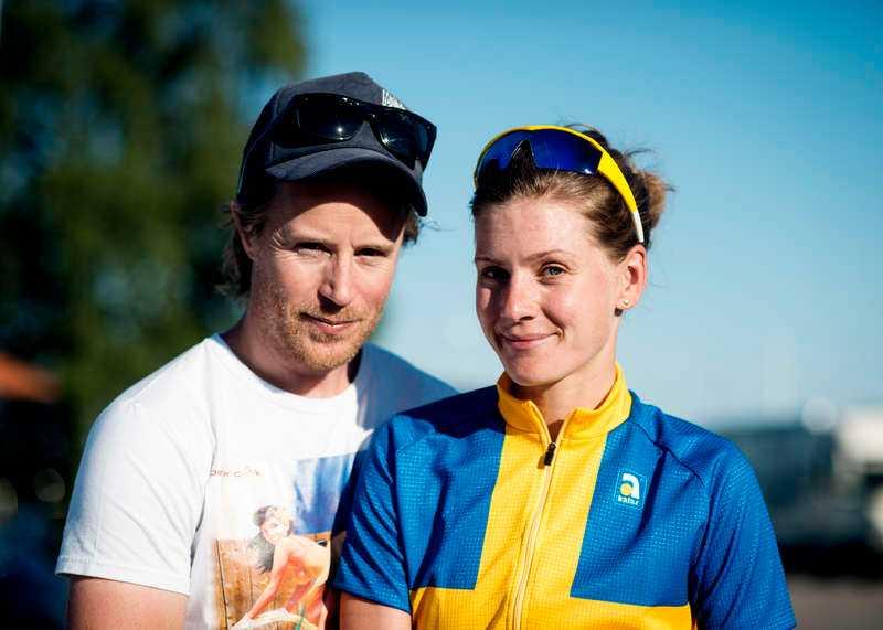 Emma med Martin som både är hennes man och tränare.
