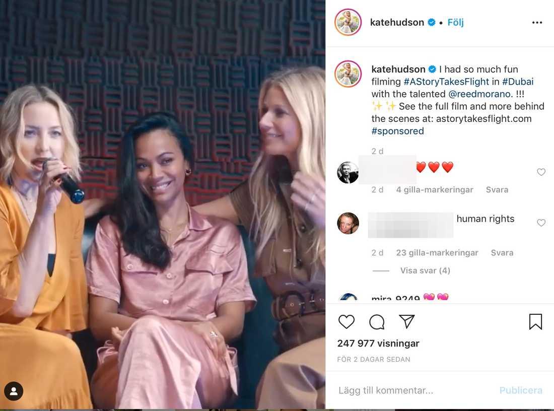Hollywood-stjärnorna Gwyneth Paltrow, Kate Hudson och Zoe Zaldana i en pr-kampanj för turistmyndigheten i Dubai.