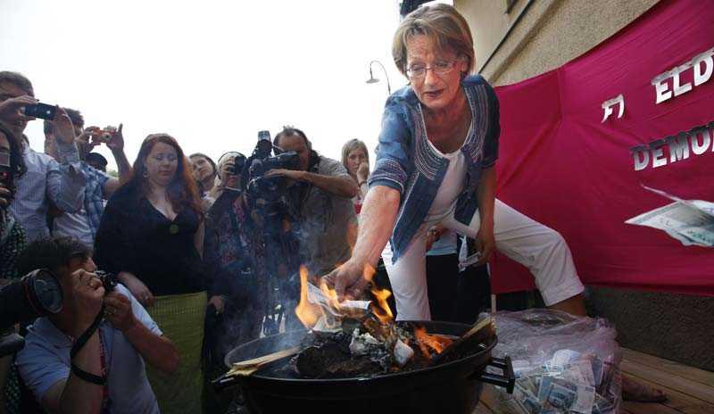 Gudrun Schyman och FI brände under Almedalsveckan i sommar upp 100000 kronor i protest mot kvinnolönerna.