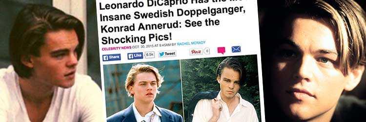 Konrads slående likhet med Leo diCaprio skapar rubriker.