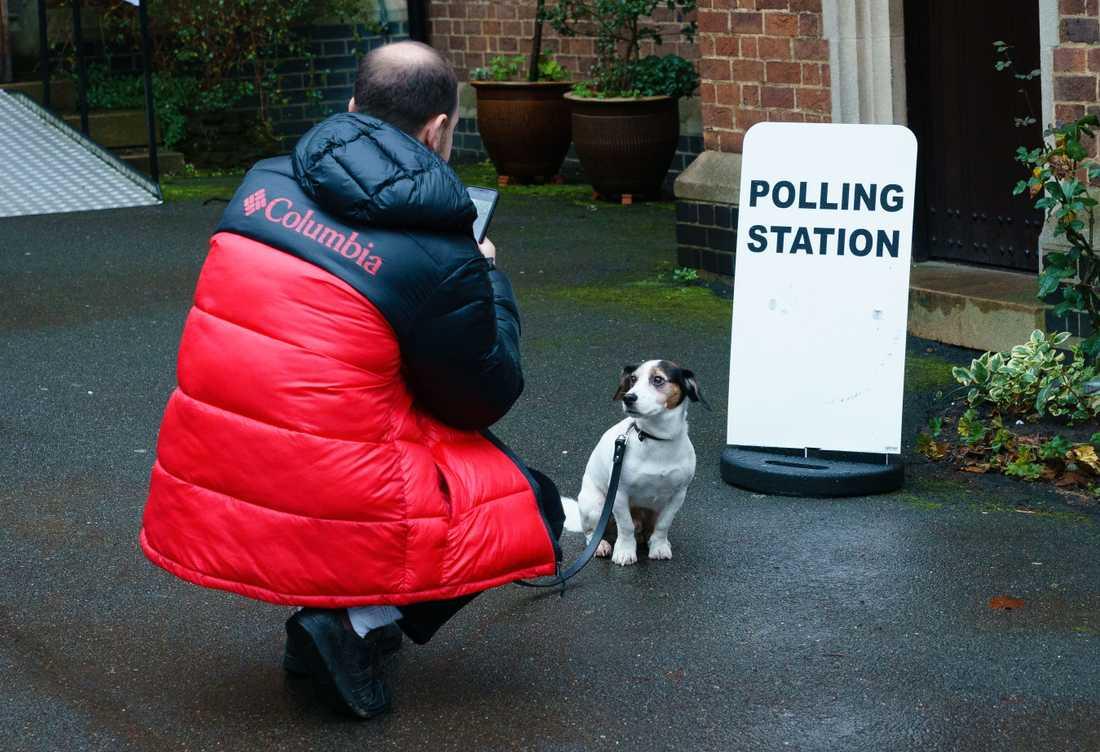 En man går med sin hund till en vallokal i Kensington.