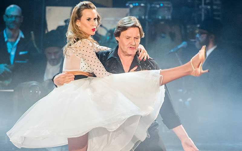 Cecilia Ehling och Johan Rabaeus dansar tillsammans i Let's Dance.