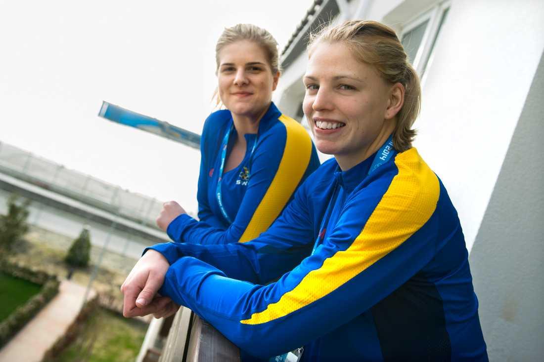 Emma Nordin och Sara Grahn under OS i Pyeongchang.