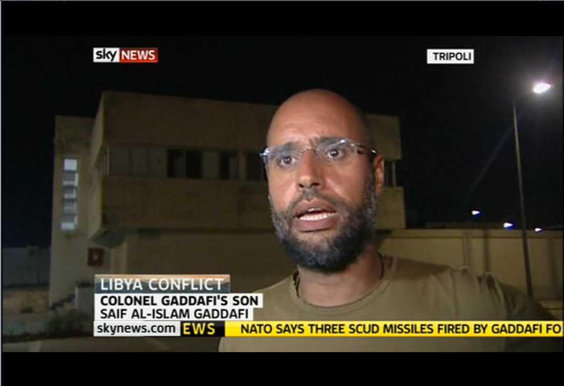 OBS! Arkivbild på Muammar Gaddafis son Saif.