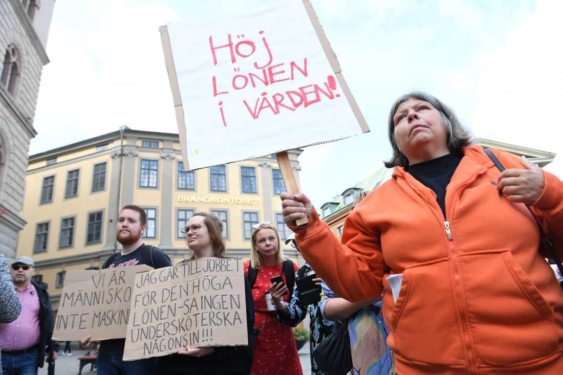 Från torsdagens protest mot ohållbara arbetsvillkor för undersköterskor.